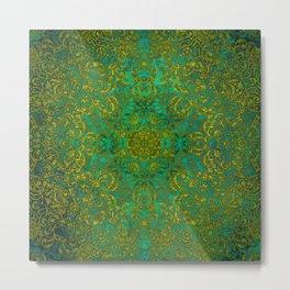 mandala green yellow magic #mandala Metal Print