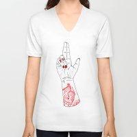 walrus V-neck T-shirts featuring Moist Walrus by scoobtoobins