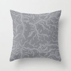 Ferning - Gray Throw Pillow