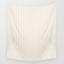 Minimal Line Curvature - Subtle White Wall Tapestry
