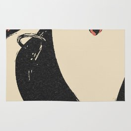 Pain, pleasure and desire, bdsm, bondage, red lips, collared and tied girl Rug