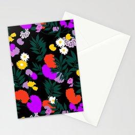 Vintage Mod Forest Floral in Black Stationery Cards
