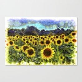 Sunflower Fields Of Summer Van Goth Canvas Print