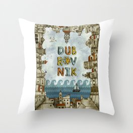 Dubrovnik Croatia - digital illustration Throw Pillow