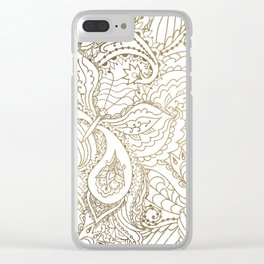 Elegant hand drawn white faux gold luxury floral Clear iPhone Case