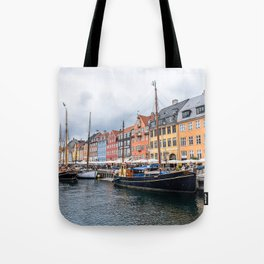Nyhavn waterfront in Copenhagen Tote Bag