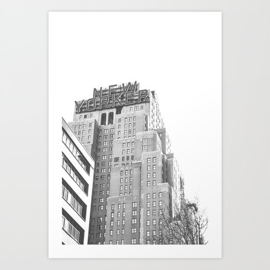New Yorker Sign - NYC Black and White Art Print