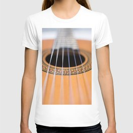 Strings of the guitar above the rose window T-shirt