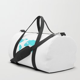 World Map - Turquoise Green Emerald Pool on White Duffle Bag