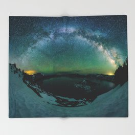 Galactic Rainbow over Crater Lake Throw Blanket
