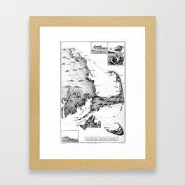 Vintage Map of Cape Cod (1885) BW Framed Art Print