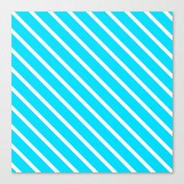 Neon Blue Diagonal Stripes Canvas Print