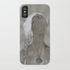 girl with silver oval telkari necklace Slim Case iPhone X