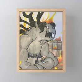 Demon in the flames Framed Mini Art Print