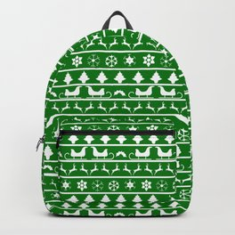 Green & White Nordic Ugly Sweater Christmas Pattern Backpack
