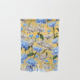 Mums Pattern     Yellow-Blue-Cream-White Wall Hanging