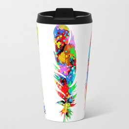 colorful feathers Travel Mug