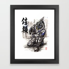 Garrus from Mass Effect sumie style with Japanese calligraphy Framed Art Print