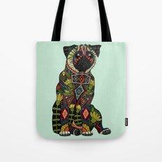 pug love mint Tote Bag