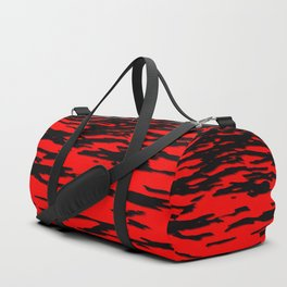 Black red abstract wave Duffle Bag