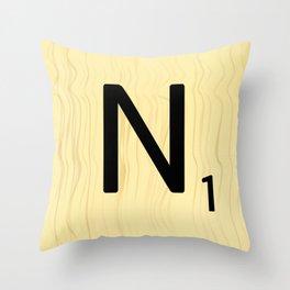 Scrabble N Art, Large Scrabble Tile Initials Throw Pillow
