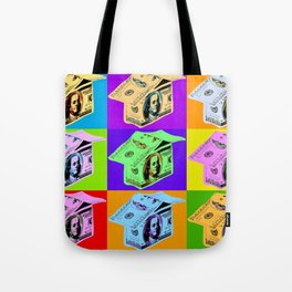 Poster with dollars house in pop art style Tote Bag