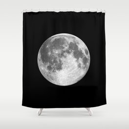 Full Moon print black-white photograph new lunar eclipse poster bedroom home wall decor Shower Curtain