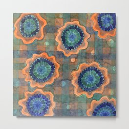 Glowing Fancy Flowers on Checks Metal Print
