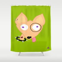 rocky Shower Curtains featuring Rocky by Designs By Misty Blue (Misty Lemons)
