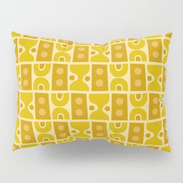 Mid Century Abstract Pattern Yellow Ochre Pillow Sham