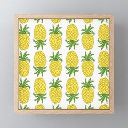 Pineapple pattern // summer yellow fruit Framed Mini Art Print