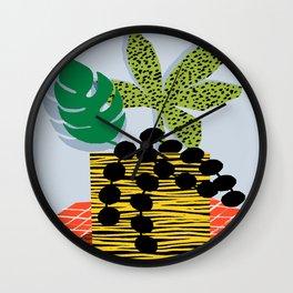 Cheeuh - hipster memphis throwback retro design minimal modern abstract shapes geometric trendy gift Wall Clock