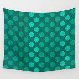"""""""Teal Burlap Texture & Polka Dots"""" Wall Tapestry"""