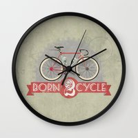 brompton Wall Clocks featuring Born To Cycle by Wyatt Design