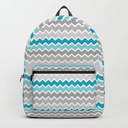 Turquoise Teal Blue Gray Chevron Backpack