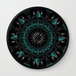 Buffalo Skull and Feathers (Aqua) Wall Clock