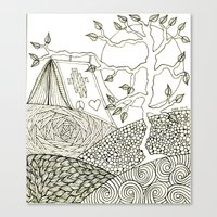 camping Canvas Prints featuring Camping by NazreenNizamRao