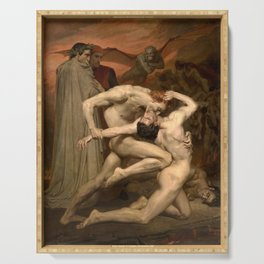Dante and Virgil in Hell by William Bouguereau Serving Tray