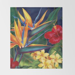 Tropical Paradise Hawaiian Floral Illustration Decke