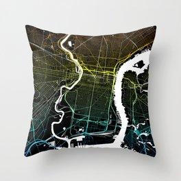 Colourful City Map of Philadelphia, PA Throw Pillow