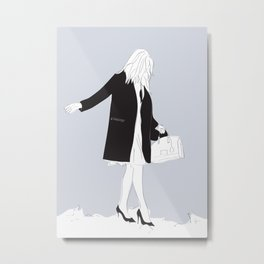 Winter Fashion Girl in the Snow Metal Print