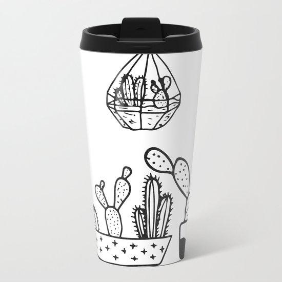 Cactus Garden Black and White Metal Travel Mug
