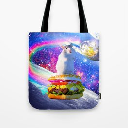 Rainbow Space Hamster Riding Burger Tote Bag