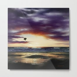 Airship Over the Pacific at Sunset Metal Print
