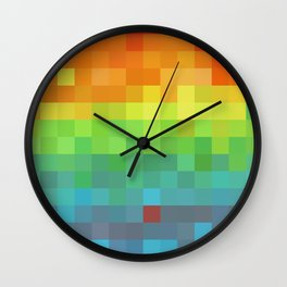 Pixel Rainbow Wall Clock