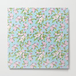 Pink Apple Blossom on Sky Blue Leafy Background Metal Print