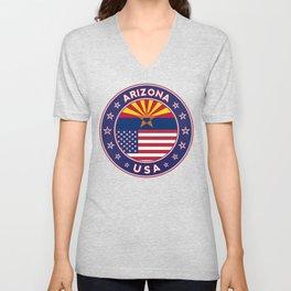 Arizona, Arizona t-shirt, Arizona sticker, circle, Arizona flag, white bg Unisex V-Neck