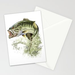 Bigmouth Bass Leaping to Freedom Stationery Cards