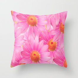Bunch of pink daisy flowers - a fresh summer feel in pink color Throw Pillow