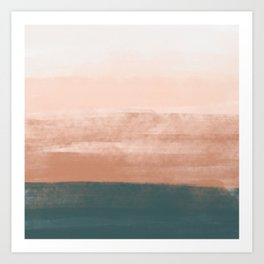 Desert Dream Waves_ Teal Green & Pink_ brush strokes abstract painting Art Print